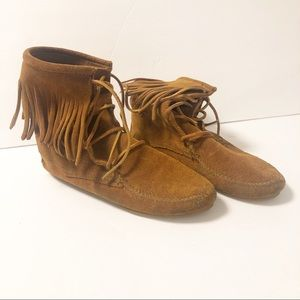 Minnetonka Leather Fringe Moccasins